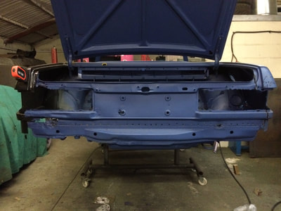 Mercedes 350SL restoration project rear valance panel welding repair