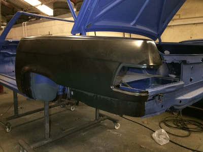 Mercedes 350SL restoration project replacing rear quarter panel